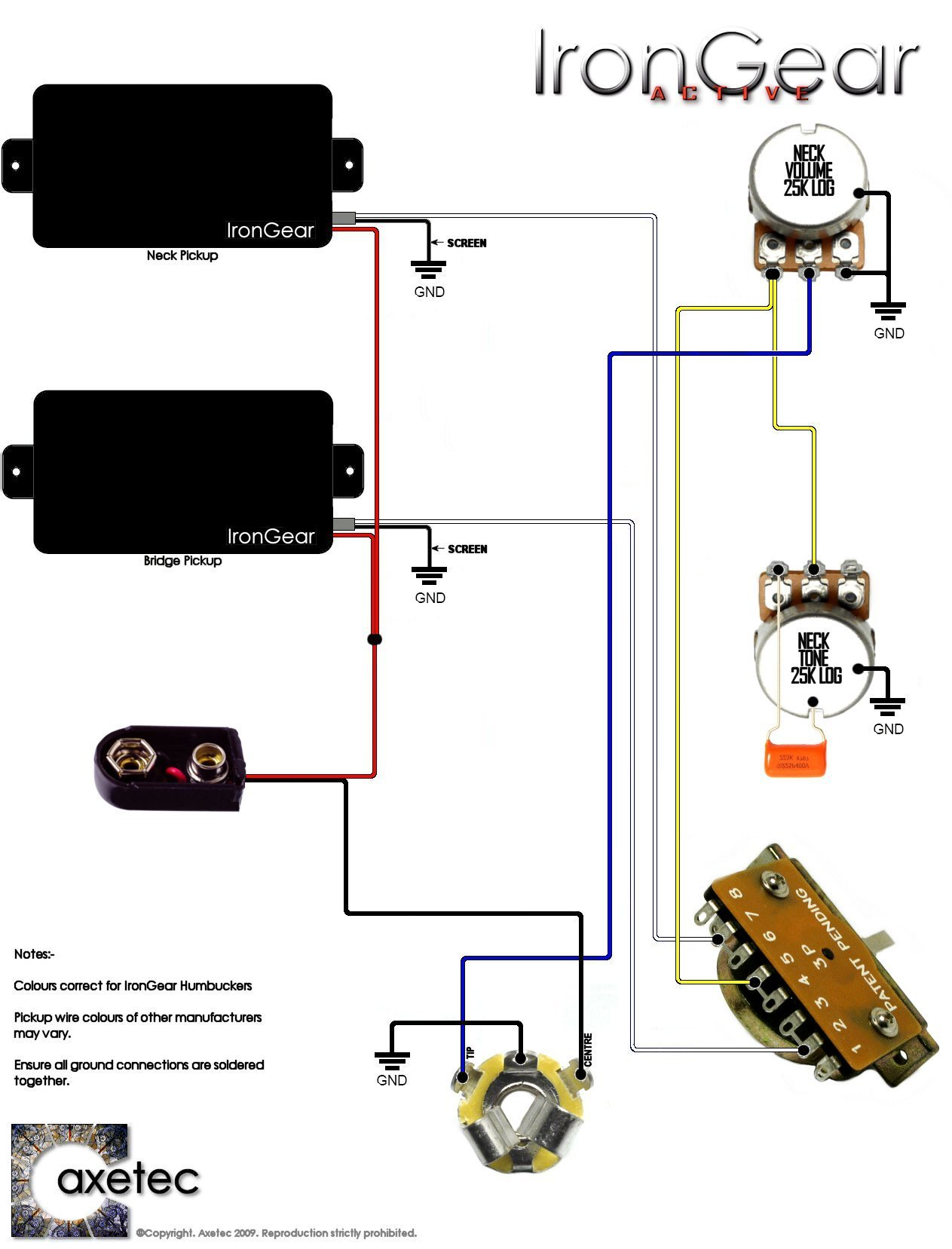IronGear Pickups - Wiring on humbucker pickup wiring diagram, 2 tone 1 volume bass diagram, toggle with 1 pickup wiring diagram,