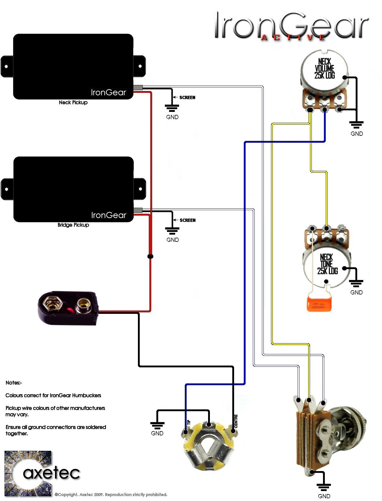 wire humbucker wiring diagram irongear pickups wiring 2 x active humbuckers 1 volume 1 tone 3 way toggle selector active
